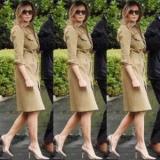 Мелания Трамп вновь заставил говорить о себе, надев модное платье из оливково-зеленый цвет